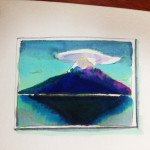 笠雲をかぶった富士山をコピックマーカーで描いたイラスト