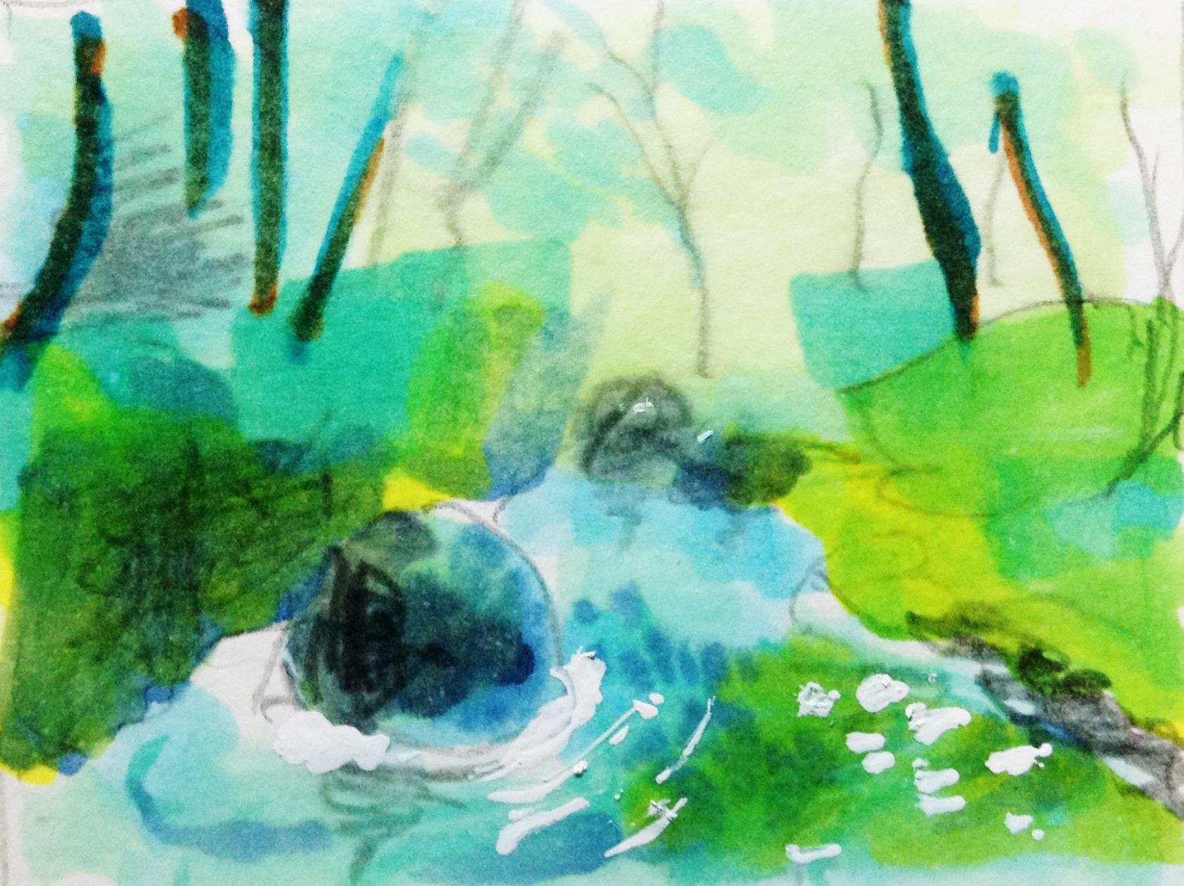 山の中の岩場にある川の風景を、コピックで描いたイラスト
