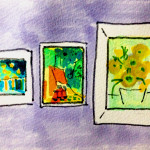 ゴッホの絵を見るために美術館へ行った思い出のイメージをコピックマーカーを使って描いたイラスト