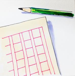 読書感想文のための原稿用紙と鉛筆をコピックマーカーを使って描いたイラスト