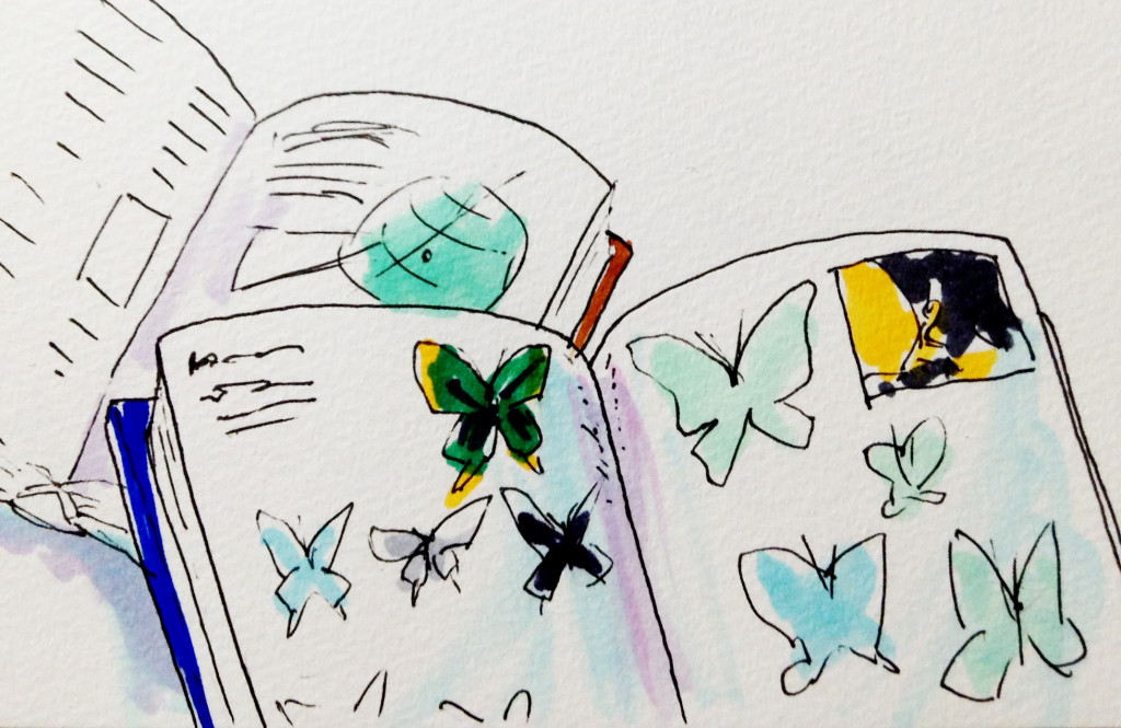 幼いころ図鑑や百科事典が好きだったため読書感想文が苦手だった思い出をコピックマーカーを使って描いたイラスト