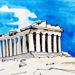 ギリシア神話の舞台 ギリシャはパルテノン神殿のイメージをコピックマーカーを使って描いたイラスト