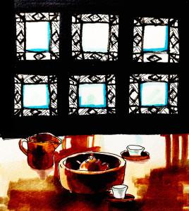 茶館で中国茶を飲む風景をコピックマーカーを使って描いたイラスト
