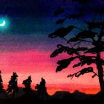 木々のシルエットの間に月の浮かぶ夕焼けまたは朝焼けのコピックマーカーを使って描いたイラスト