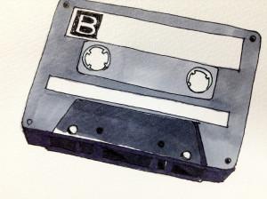 カセットテープをコピックマーカーを使って描いた手描きイラスト