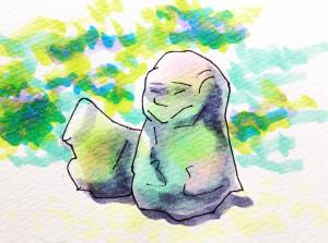明日香村にある猿石をコピックマーカーで描いたイラスト