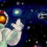 宇宙やダークエネルギーのイメージをコピックマーカーで描いたイラスト