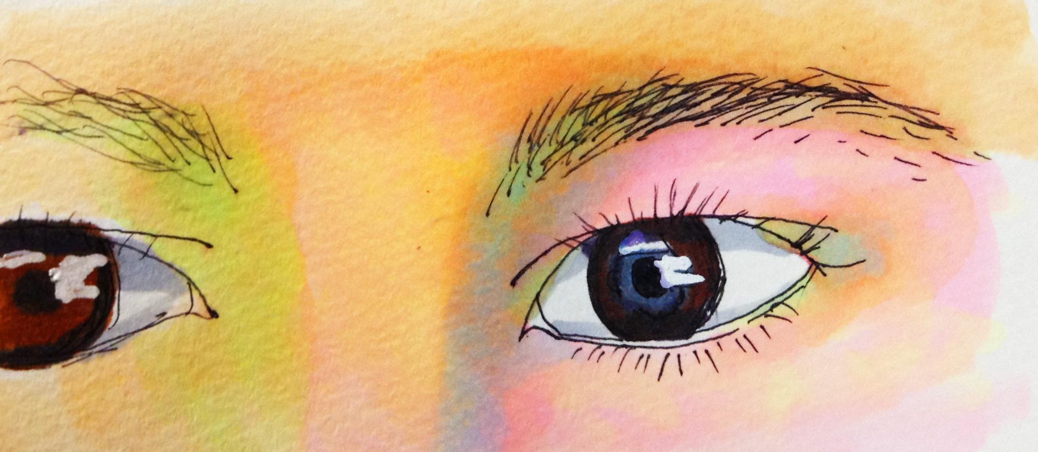 目と眉の距離が近いと美人に見えるイメージをコピックマーカーで描いたイラスト