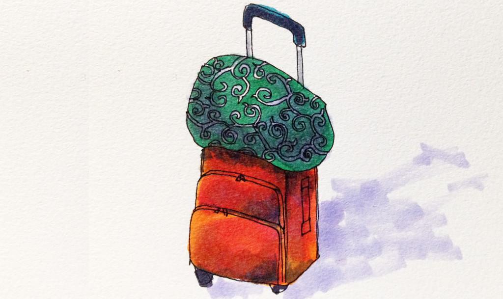 コンパクトな家財道具をどこへでも持って移動できるイメージをコピックマーカーで描いたイラスト