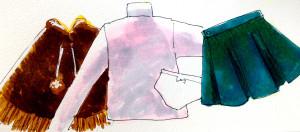 片付けで洋服を畳むと嵩が減って綺麗になったイメージをコピックマーカーで描いたイラスト