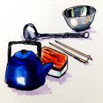 憧れのキッチンに置きたい琺瑯のやかんやアルミのボウルなどのキッチン用品をコピックマーカーで描いたイラスト