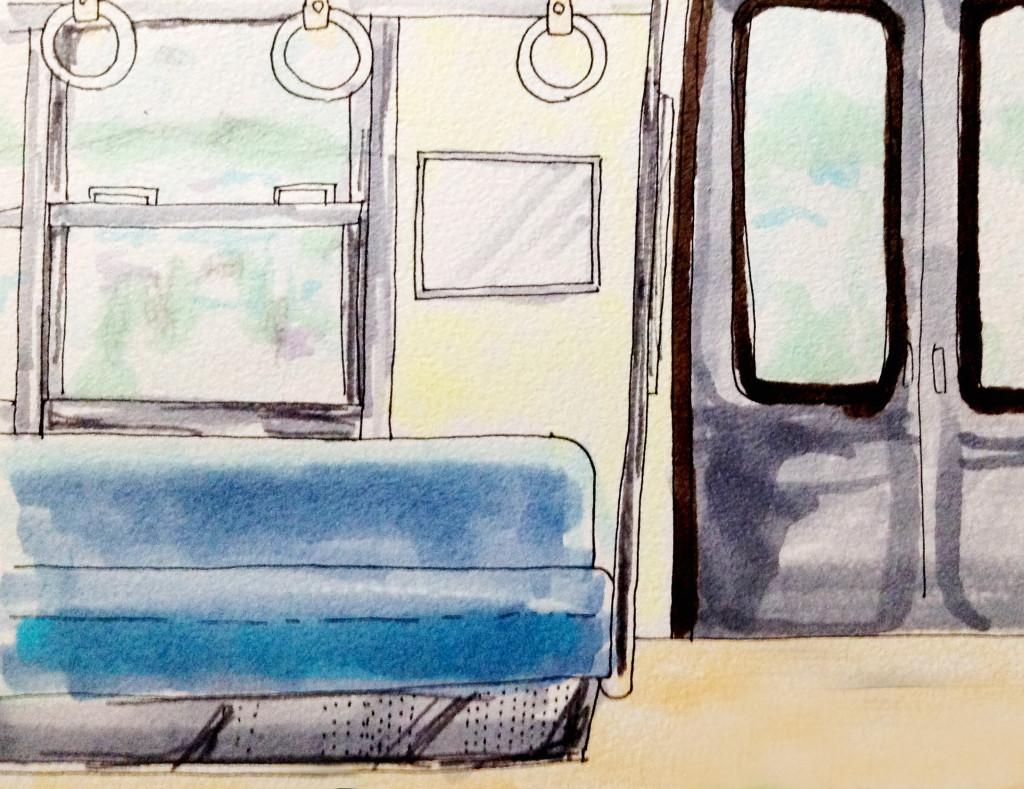 JR阪和線に乗った思い出のイメージをコピックマーカーで描いたイラスト