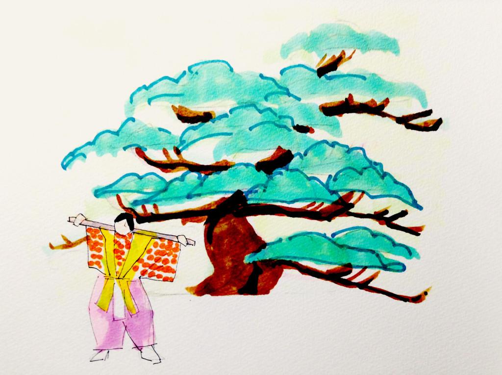 狂言「棒縛」のイメージをコピックマーカーで描いたイラスト