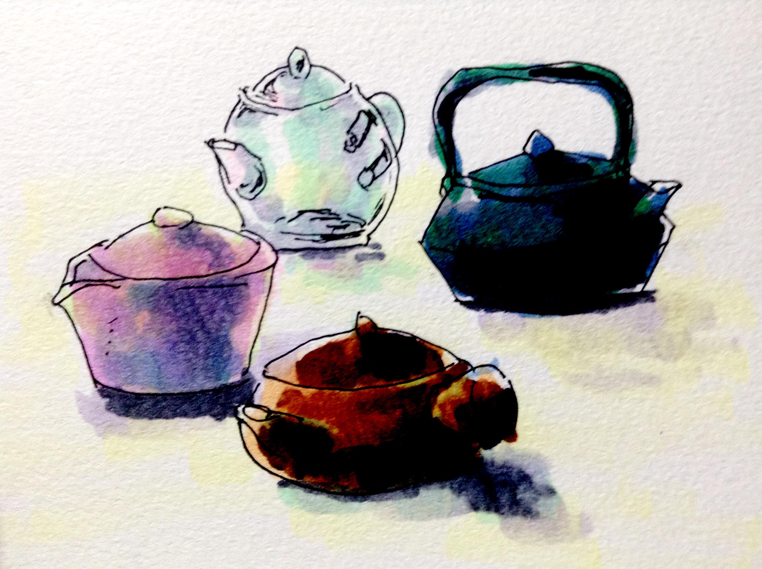 日本茶やハーブティーを淹れるさまざまな急須のイメージをコピックマーカーで描いたイラスト