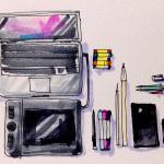 イラストを描くための様々な道具のイメージをコピックマーカーで描いたイラスト