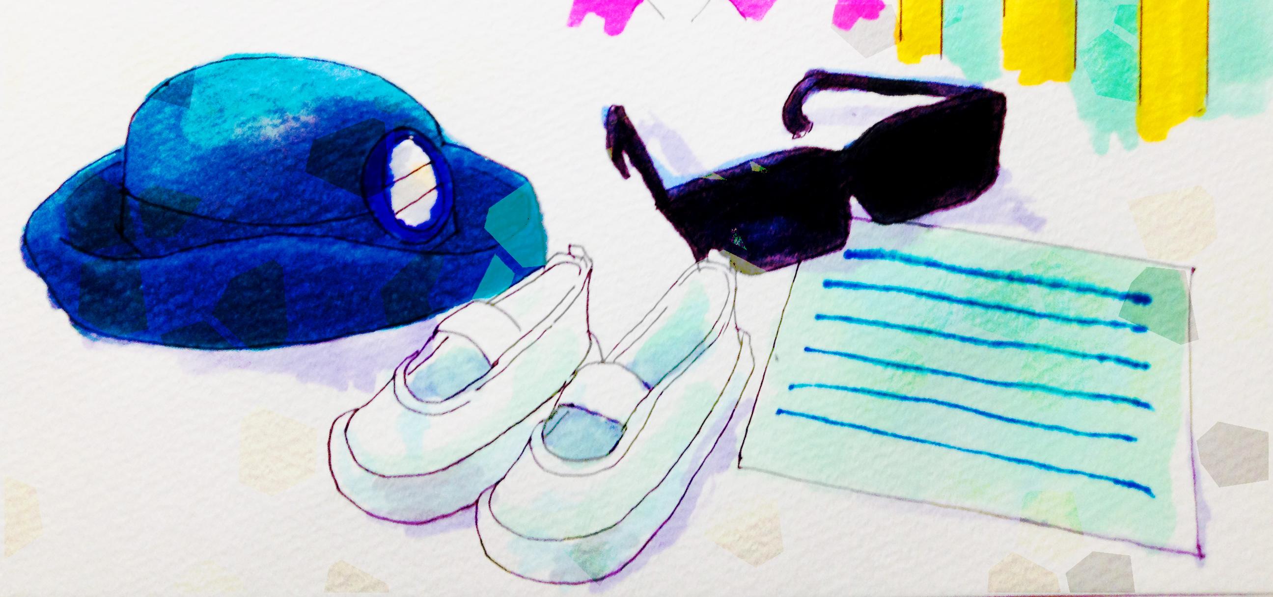 井上陽水の歌の思い出を詰めあわせたイメージをコピックマーカーを使って描いたイラスト
