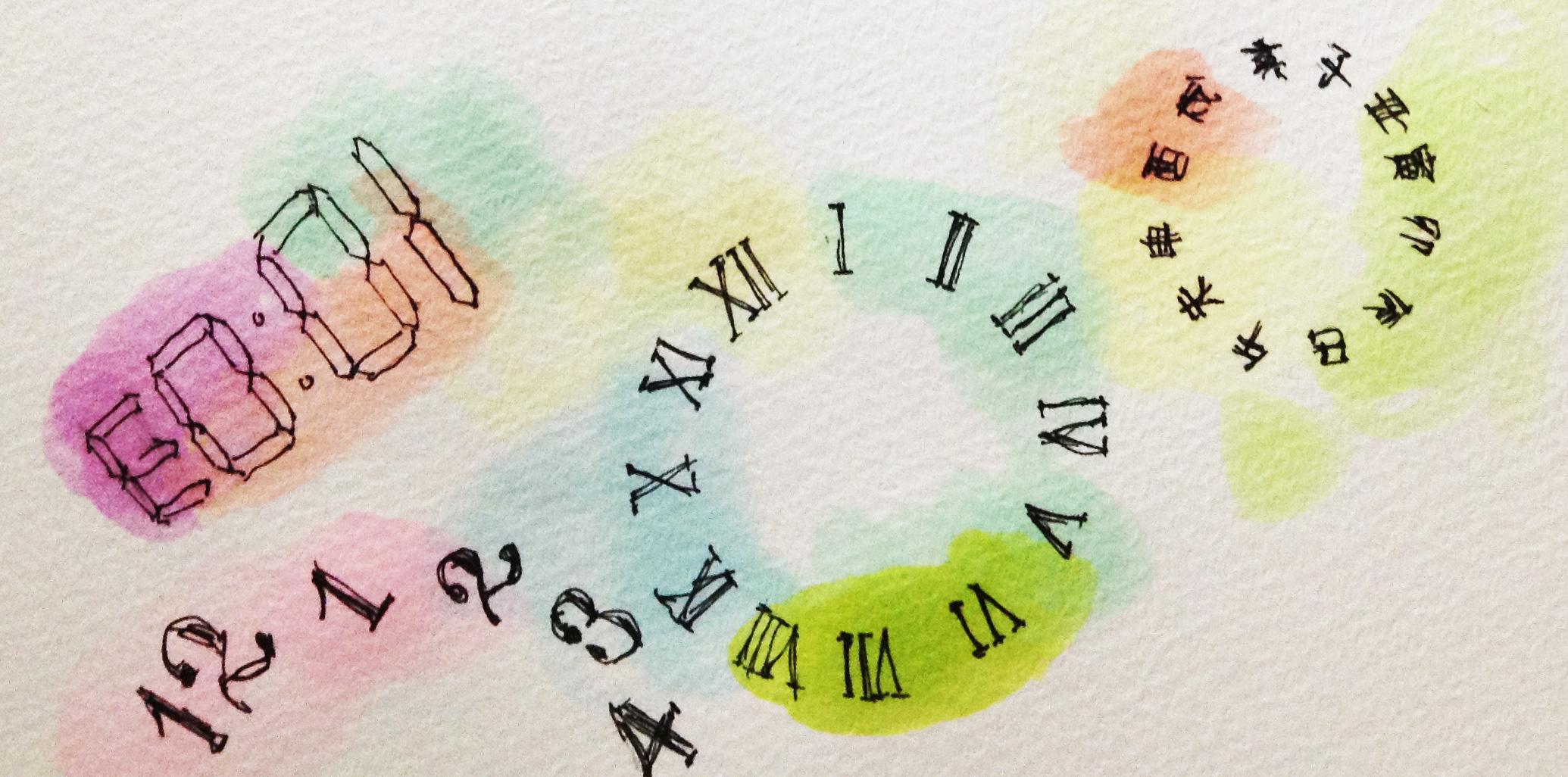 歴史の時間の流れを時計の文字盤のイメージを描いたコピックイラスト