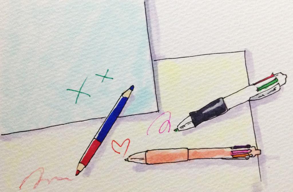 たくさんの顔を持つ自分をたくさんの色を持つ多色ボールペンに例えてみたら色とりどりで嬉しい気持ちになったイメージをコピックで描いたイラスト
