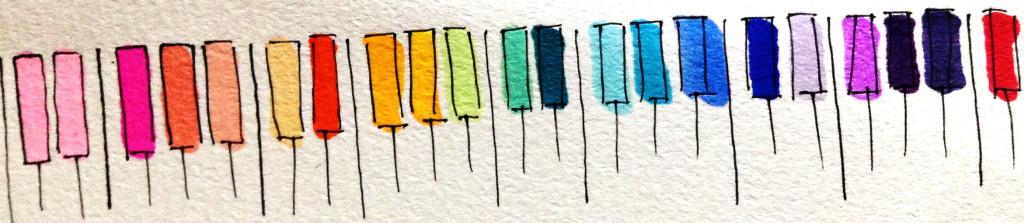 作曲に必要なピアノの鍵盤(キーボード)のイメージをコピックマーカーを使って描いたイラスト