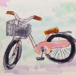 自転車に乗ってサイクリングや旅行に出かけたいイメージをコピックで描いたイラスト