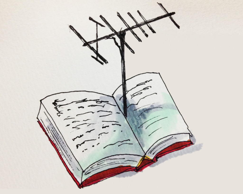 読書のアンテナ感度を上げていきたい願望をイメージしたイラスト