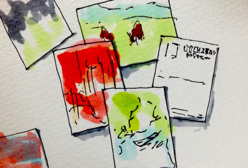 入江泰吉の写真のポストカードのイメージをコピックマーカーで描いたイラスト
