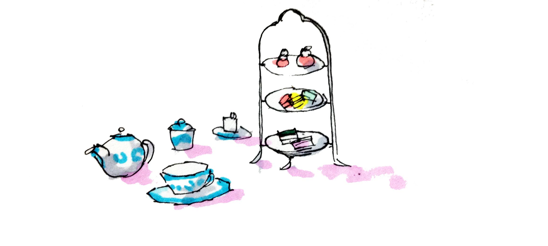 マイセンの器で憧れのティーカップのイメージをコピックマーカーで描いたイラスト