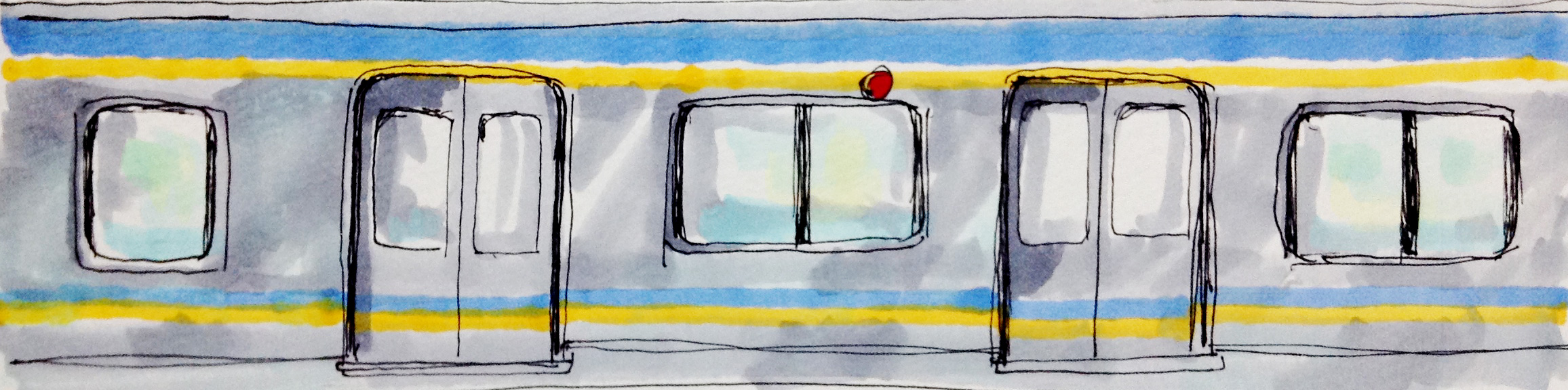 南海電車の車体のカラーのイメージをコピックで描いたイラスト