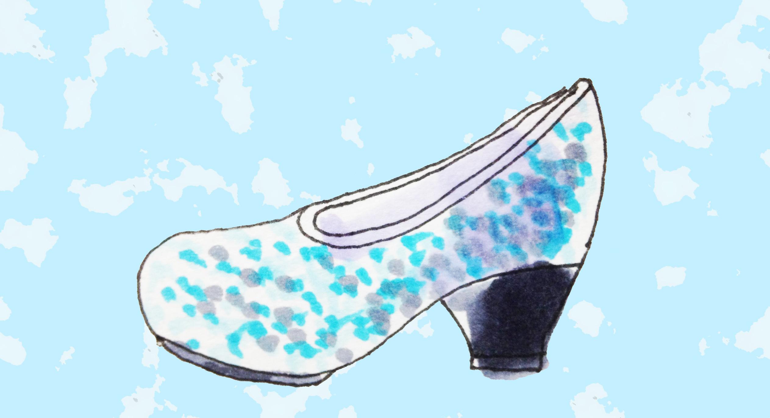 オズの魔法使いの憧れの銀の靴のイメージをコピックで描いたイラスト