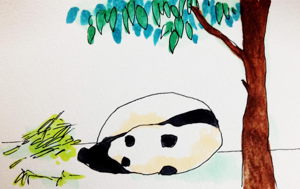 寝ているパンダをコピックマーカーで描いたイラスト