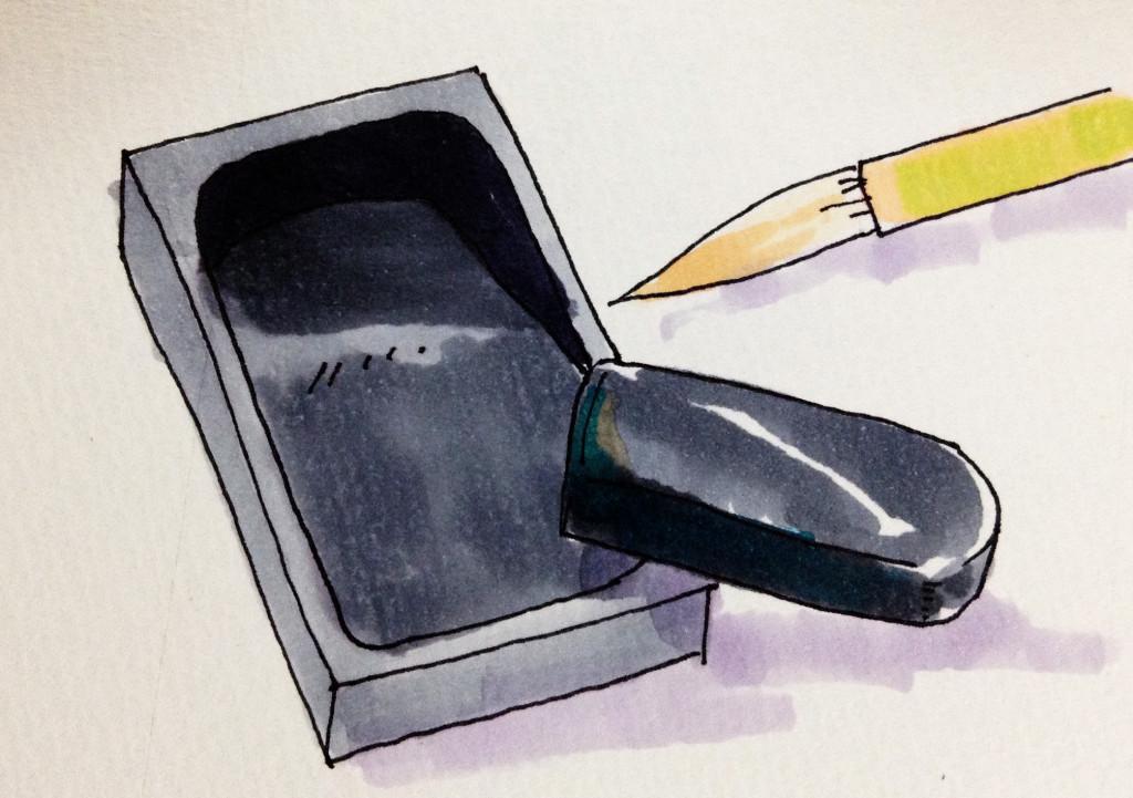 書を書くのに必要な筆と硯、墨のイラストをコピックで描いたイメージ