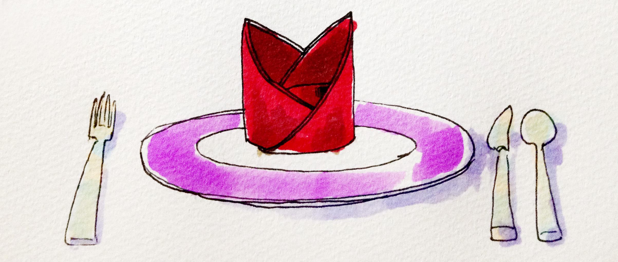 テーブルマナーやテーブルコーディネートのイメージをコピックマーカーで描いたイラスト