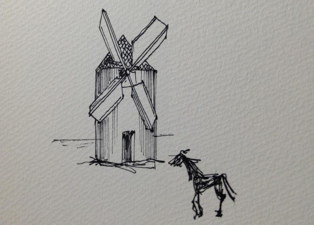 ドン・キホーテの印象深い風車と馬のイラスト