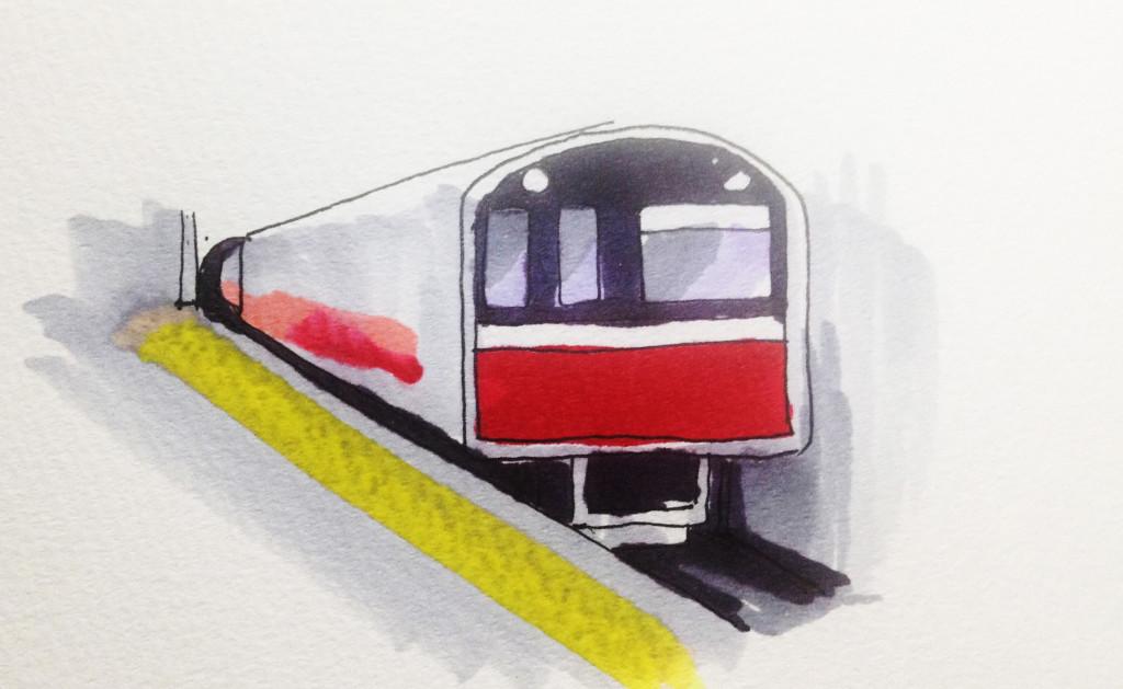 地下鉄のイメージをコピックで描いたイラスト(大阪市営地下鉄 御堂筋線)