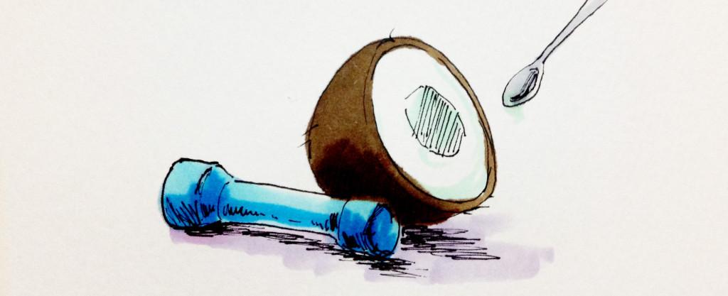 筋トレに必要なダンベルとココナッツのイラスト