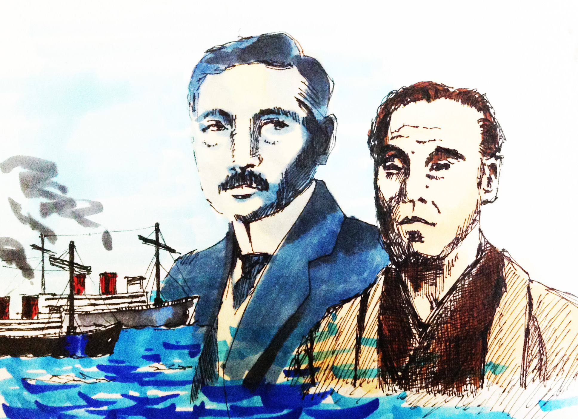 明治以降大量に輸入された外来語を日本語に翻訳した偉人達のイメージをコピックで描いたイラスト