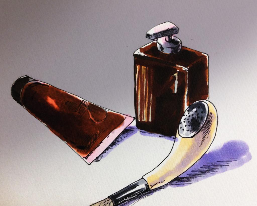ヘアケア用品のイメージをコピックで描いたイラスト