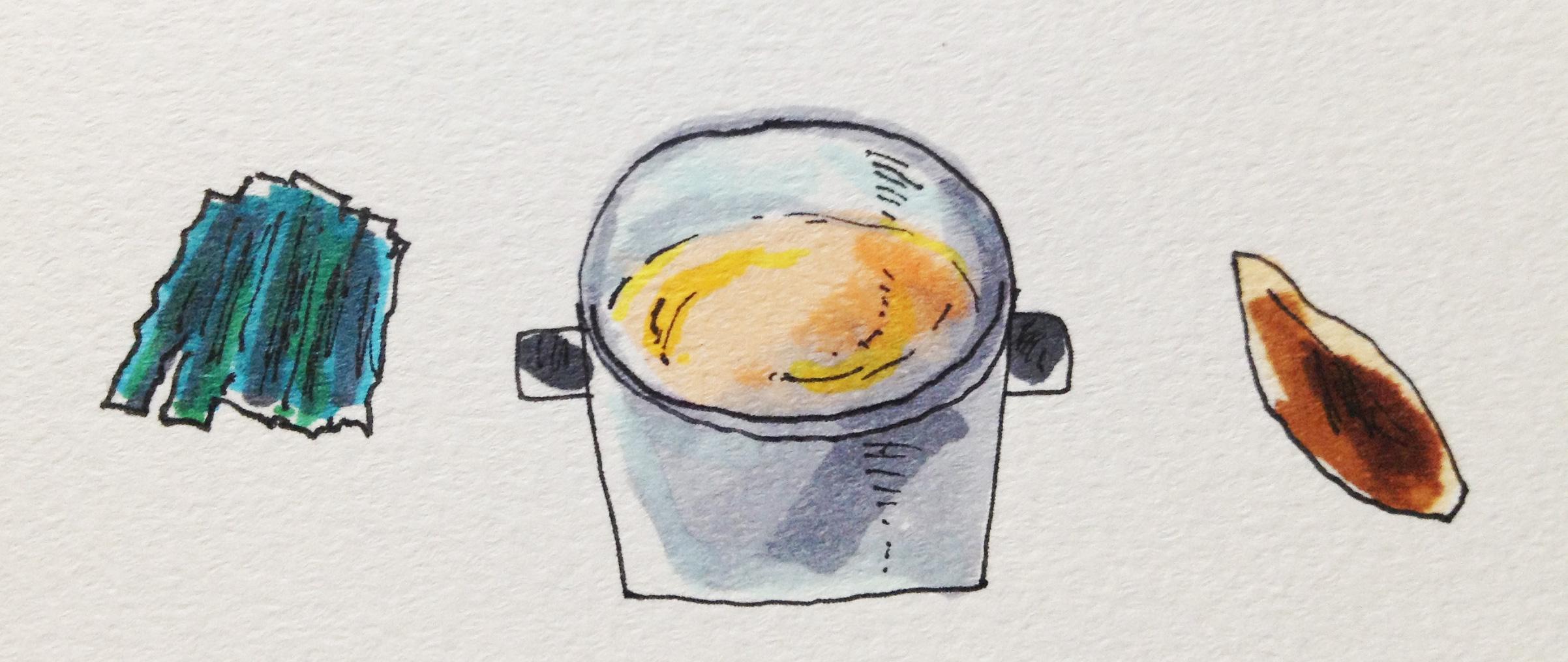 料理に必要な鍋と、カツオと昆布のだしのイメージをコピックに描いたイラスト