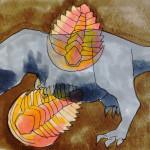 ジュラシックパークに登場する恐竜(ティラノサウルス)と古生代の生物(三葉虫)の化石のイメージをコピックで描いたイラスト