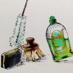 料理をするとついてくる後片付けに必要な洗剤やたわしのイメージをコピ描いたイラスト