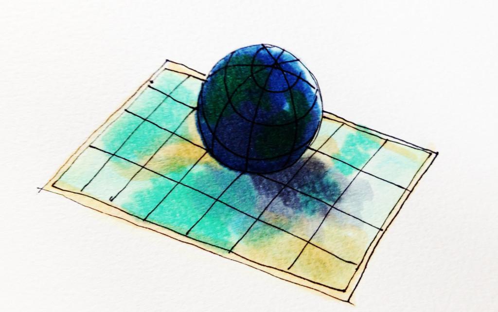 自分の世界観や生死観を作っているであおろう地図や球体の地面のイメージをコピックで描いたイラスト