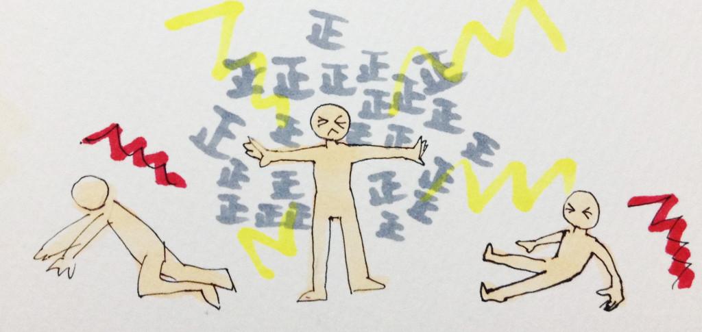 正しいことで人を傷つけているイメージをコピックで描いたイラスト