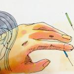 経絡図のイメージと鍼と灸治療のイメージをコピックで描いたイラスト