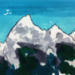 山の向こうからUFOが飛来するイメージをコピックで描いたイラスト