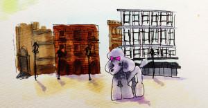 フランシスくんとレトロビルディングのイメージをコピックで描いたイラスト