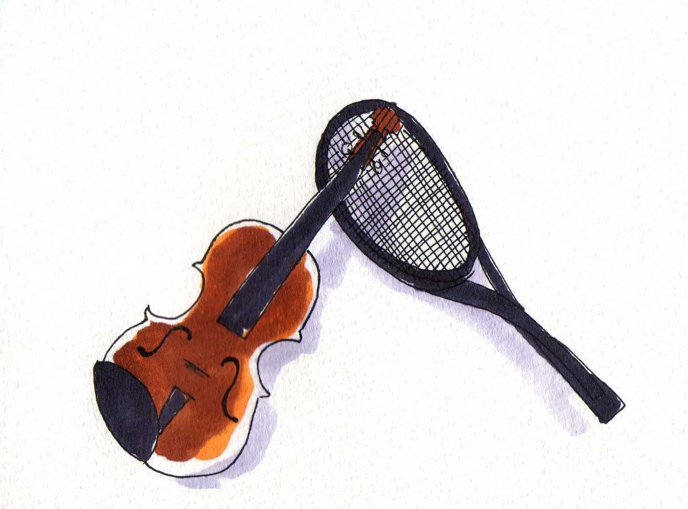 バイオリンとラケットのイラスト