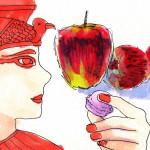 クレオパトラと果実のイラスト