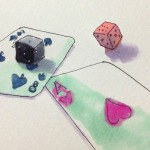 確率につきものであるトランプやダイス(サイコロ)をコピックで描いたイラスト