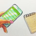 メモ帳やスマホ端末でメモを取るイメージをコピックで描いたイラスト
