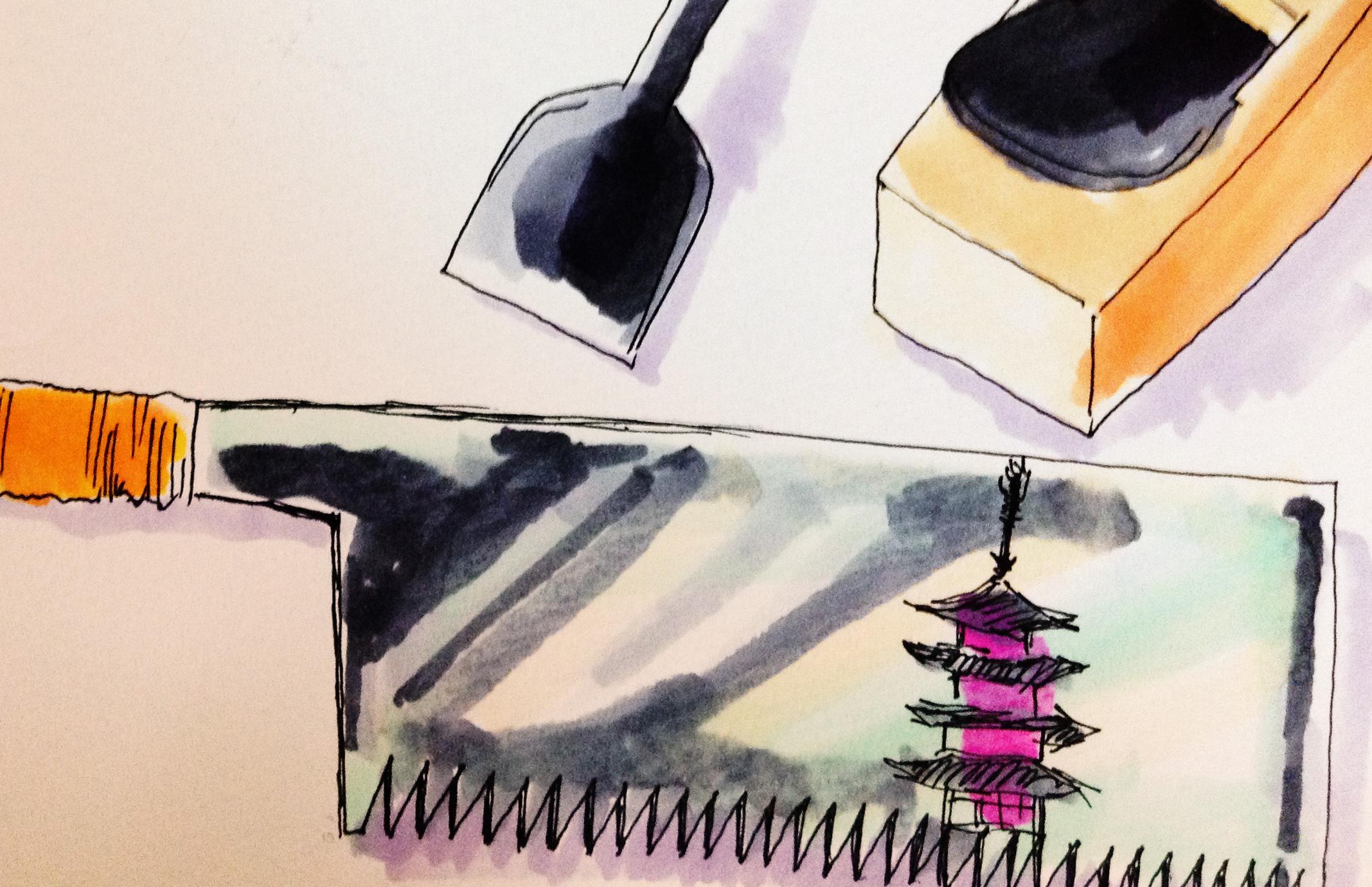鉋、鋸、ノミをコピックで描いたイラスト